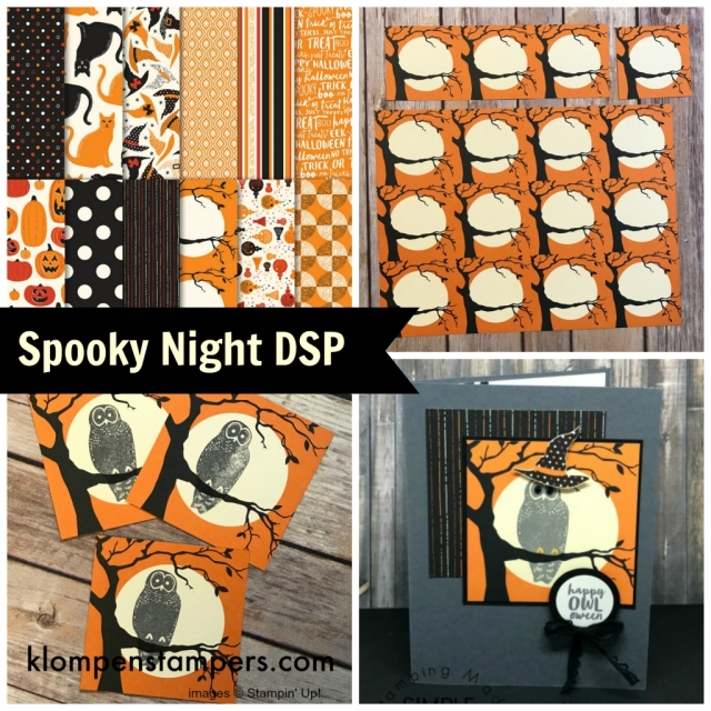 "Cut the Spooky Night DSP into 3"" x 3"" pieces to make several of these cards or use to make treat containers."