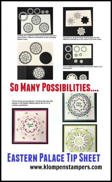 Tip sheet showing all different combinations of using the Eastern Medallion Dies and Eastern Beauty stamp set.