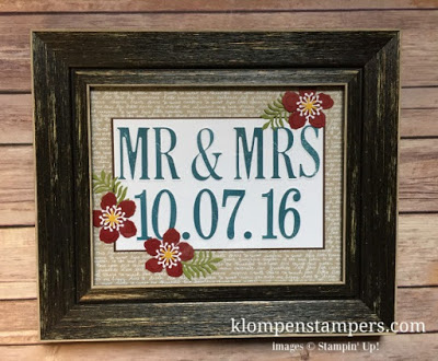 Wedding gift using Stampin' Up! Large Letters Framelits and Letters for You stamp set.
