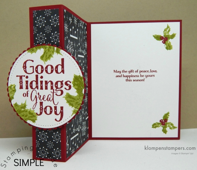 Free Tutorial for this easy Christmas card using Stampin' Up! Good Tidings.