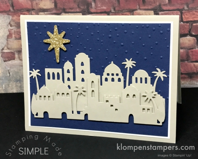 Night in Bethlehem by Stampin' Up! Quick & easy Christmas Cards. All details posted at klompenstampers.com