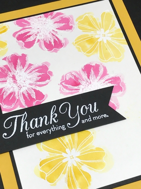 Emboss Resist watercoloring technique using Stampin' Up! Flower Shop stamp set