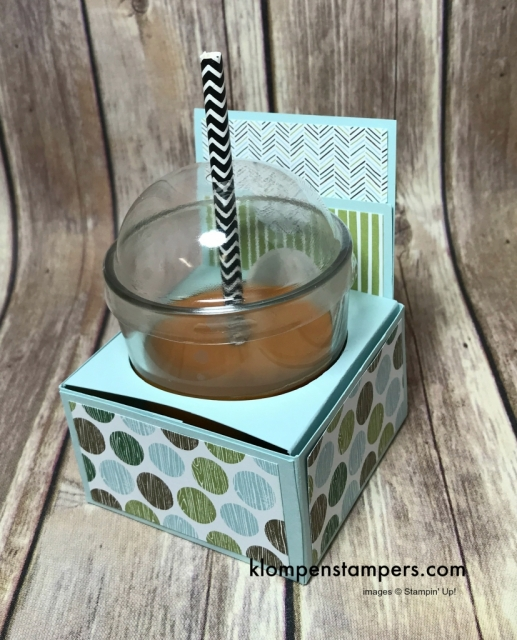 Box to hold coffee candle and coffee gift card using Stampin' Up! Coffee Cafe set. Video and directions posted.