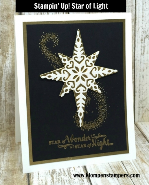 easy christmas card using stampin up star of light stamp set starlight thinlits