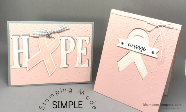 2 projects made using the Ribbon of Courage bundle along with a video showing step-by-step.