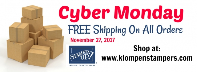 Free Shipping on all Stampin' Up! orders at klompenstampers.com