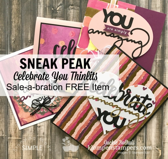 Celebrate You Thinlits available January 3, 2018 as a free Sale-a-bration item with a $100 purchase
