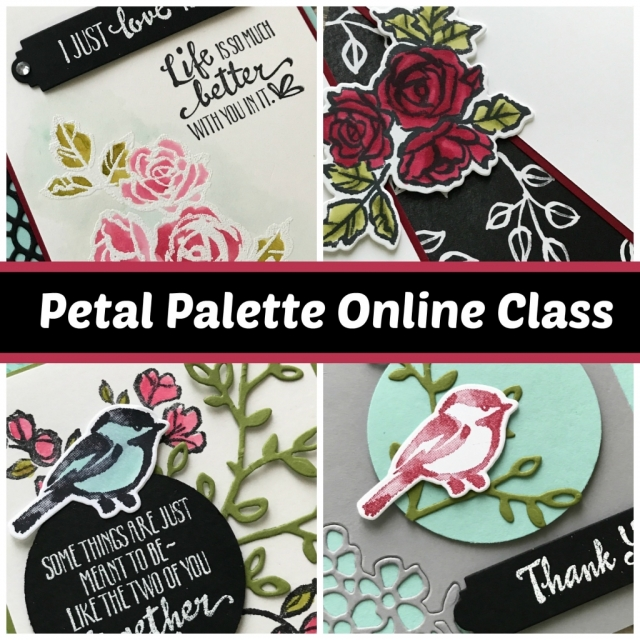 Online stamping class using Petal Palette stamp set bundle in the Occasions Catalog. Step-by-step instructions for 4 projects plus video filled with tips