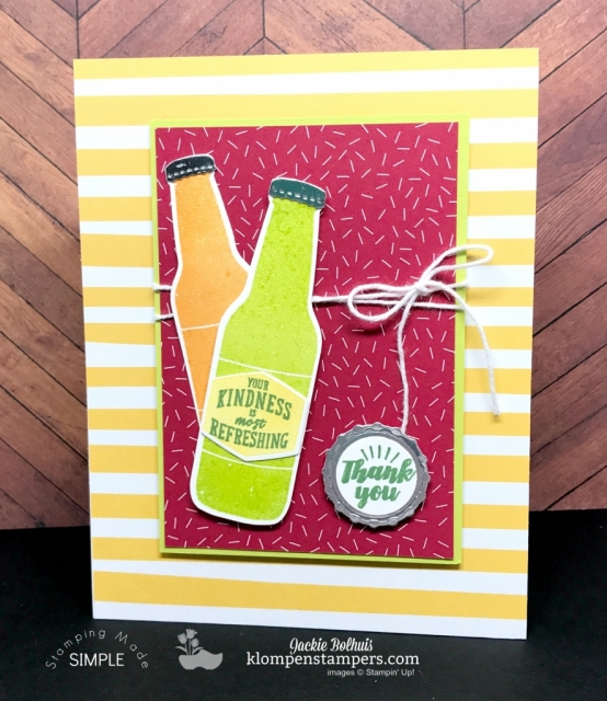 Quick & easy project using the Bubble Over stamp set andBottles & Bubbles Framelits. All details are posted at klompenstampers.com