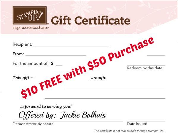 $10 free gift certificate with purchase of $50 gift certificate