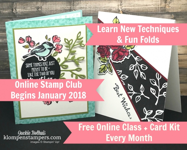 Online stamping club. Monthly online stamping class that includes a new technique and creative/fun fold. Now accepting members.