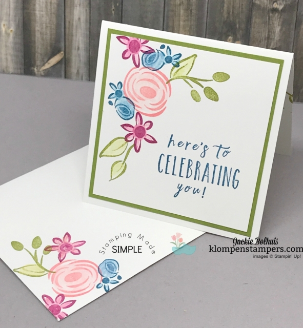 Perennial Birthday stamp set is perfect for quick and easy birthday notecards. All details at klompenstampers.com