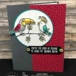 Adorable card using Bird Banter stamp set colored with Stampin' Blends. Super easy and so fun and bold. Details at klompenstampers.com