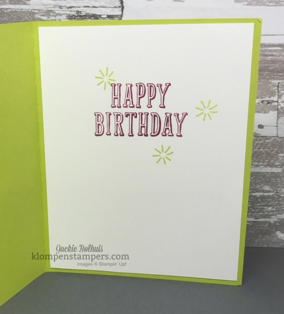 Quick & easy Birthday Card with Birthday Wit stamp set and Picture Perfect DSP. Details at Klompenstampers.com