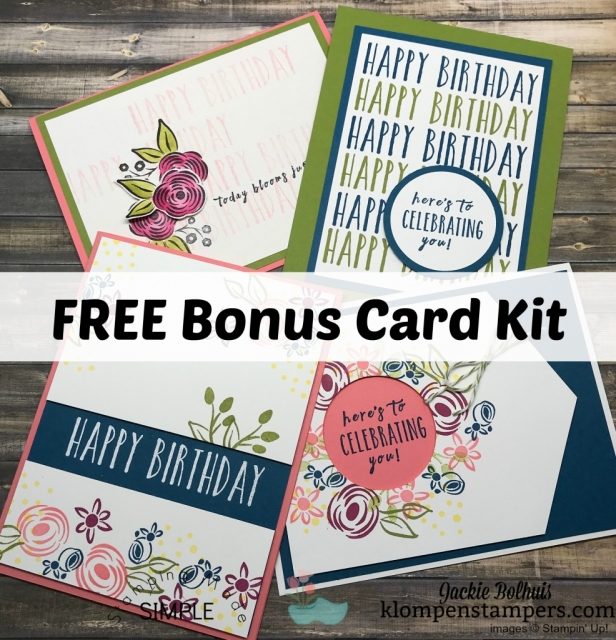 Free card kit when you purchase the Perennial Birthday kit and stamp set from me.  Make these additional fun projects for free.  Step-by-step tutorial and video filled with tips.
