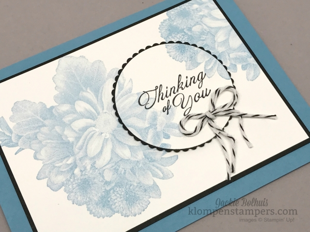 Quick & easy thinking of you card using Heartfelt Blooms stamp set. Details at klompenstampers.com