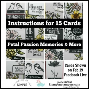 Tutorial for 15 cards using the Petal Passion Memories and More Card Pack