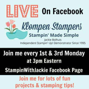 Fun stamping projects LIVE on Facebook the 1st & 3rd Mondays.https://www.facebook.com/Stampinwithjackie/