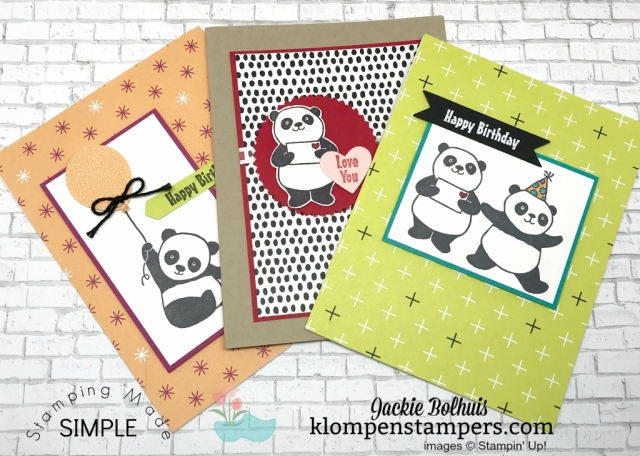 Adorable Party Pandas quick & easy cards. All details posted at klompenstampers.com