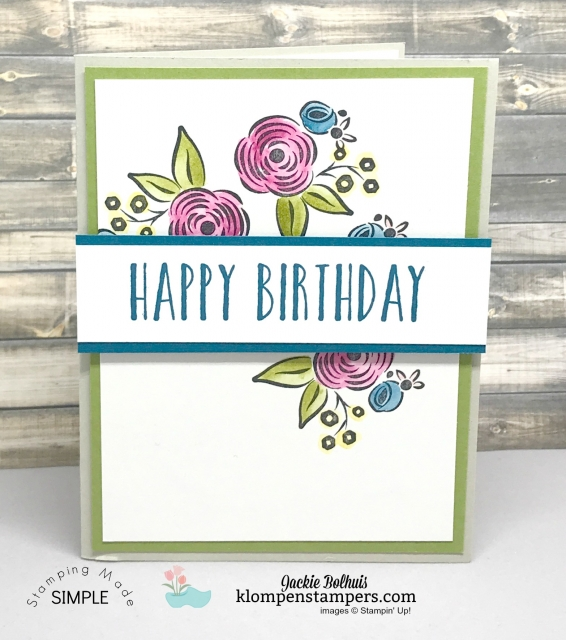 Quick & easy card using Perennial Birthday stamp set. Free Bonus Card Kit with purchase.