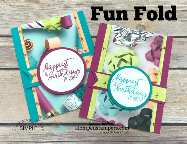 Easy Fun Fold using Picture Perfect Party Designer Series Paper and Picture Perfect Birthday stamp set