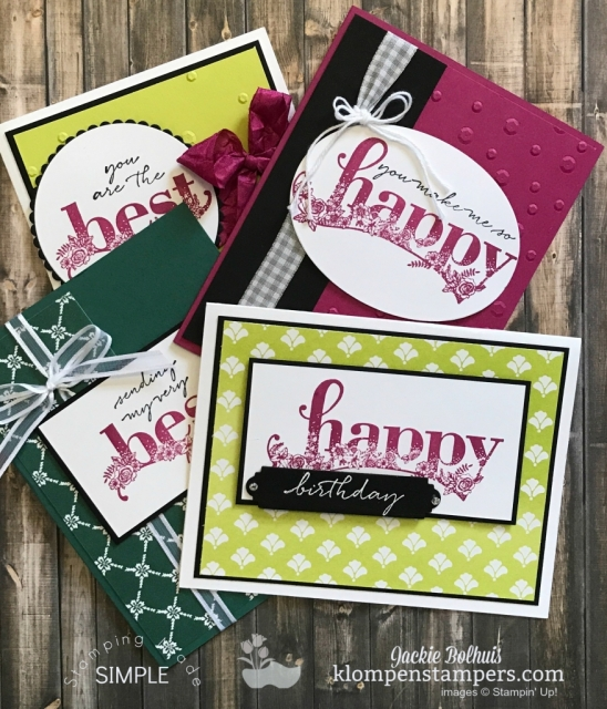 FREE Tutorial to download for Happy Wishes from the 2018 Sale-a-bration. Cards by Jackie Bolhuis, Klompen Stampers #jackiebolhuis #klompenstampers