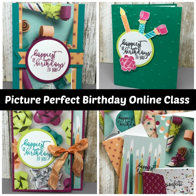 Tutorial for 4 different projects using Picture Perfect Birthday in Occasions Catalog from Stampin' Up! Projects by Jackie Bolhuis, Klompen Stampers #jackiebolhuis #klompenstampers