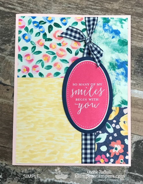 Simple Handmade Card 1 Featuring Garden Impressions Designer Paper