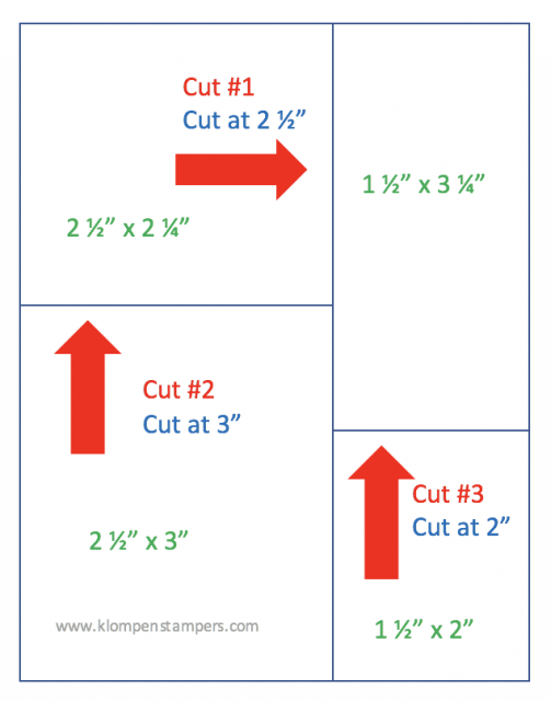 Cutting diagram for Garden Impressions 4 simple handmade cards