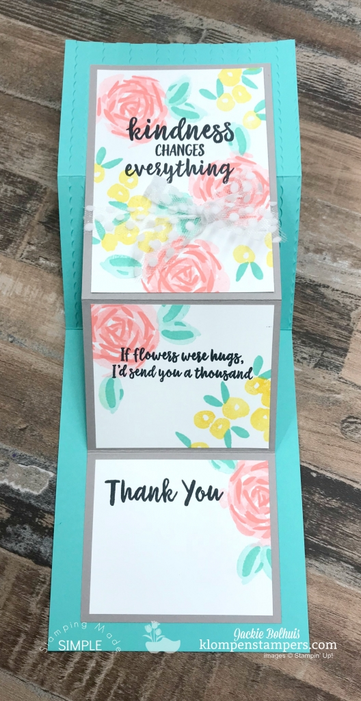 3 step stamping tutorial on a fun fold card