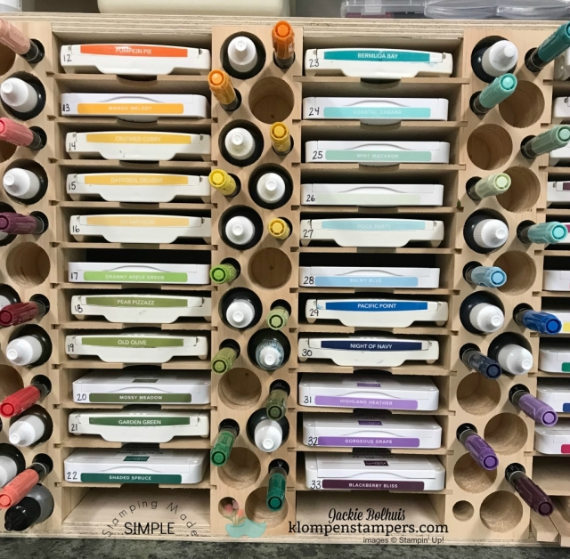 Stampin' Up! rainbow of ink pad colors. Great storage solution for ink pads
