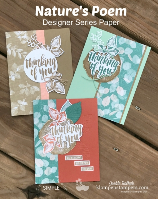 Card design ideas featuring stampin up nature's poem