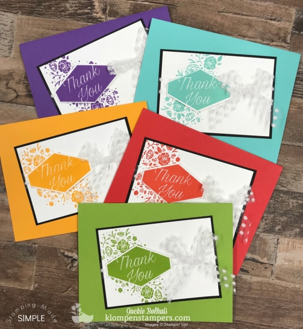 Easy Monochromatic Cards featuring bright colors
