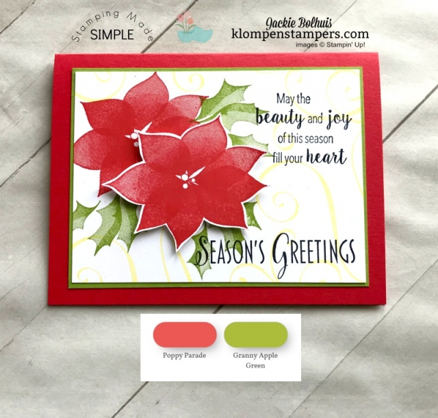 Poppy Parade and Granny Apple Green Color Combinations Featured on homemade Christmas card.