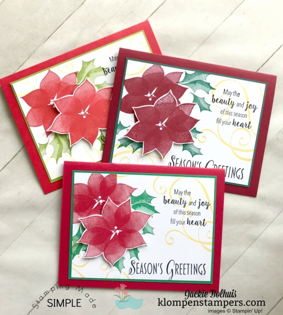 Quick and Easy Christmas Cards with varied color combinations by Jackie Bolhuis