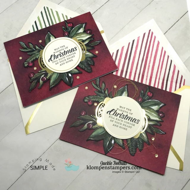 Beautiful Christmas Card Design Ideas with step-by-step instructions. Jackie Bolhuis, Klompen Stampers