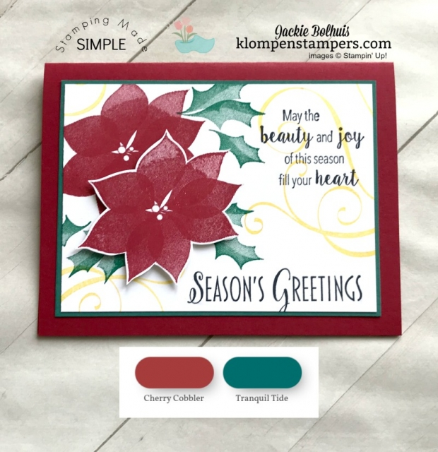 Unique Christmas Cards with Cherry Cobbler and Tranquil Tide color combinations