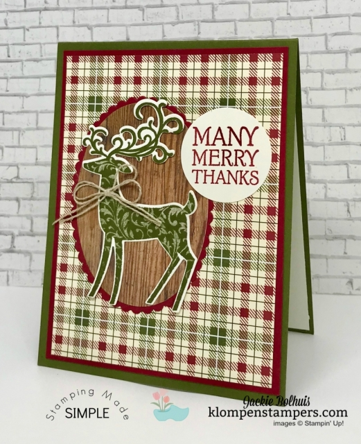 4 Christmas cards made with Dashing Deer bundle. VIDEO TUTORIAL included. Join me to see how easy it is to make these cute Christmas Cards. ~Jackie Bolhuis, Klompen Stampers #christmascards #cardmaking #greetingcards #stampinupcards #jackiebolhuis #klompenstampers