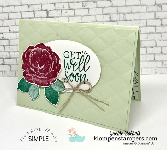 Easy Get Well Card Video Tutorial! Today I'm sharing an easy card that you can make. Join me for step-by-step instructions! #cardmaking #stampinup #papercrafting #jackiebolhuis #klompenstampers