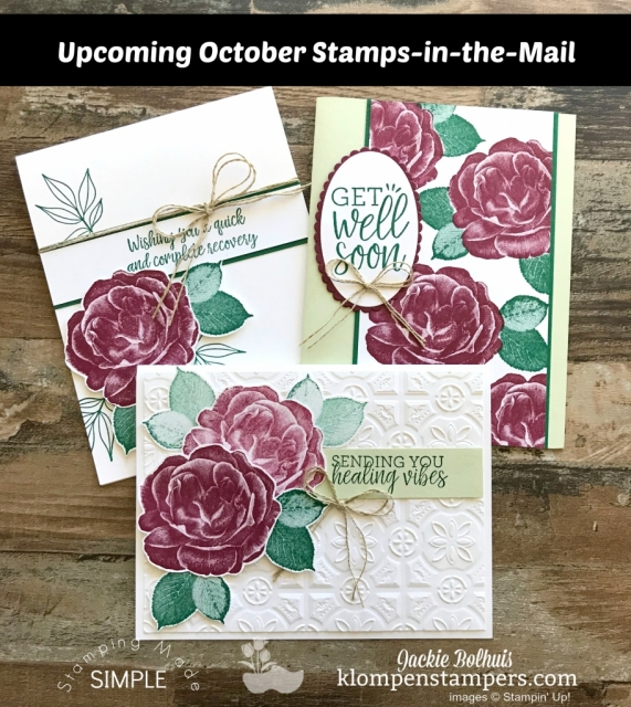 Upcoming Stamps in the Mail (NOT a club!!) October 2018 sneak peek with Jackie Bolhuis, Klompen Stampers. These handmade cards are beautiful and easy to make! #cardmaking #cardmakingkits #stampinup #jackiebolhuis #klompenstampers