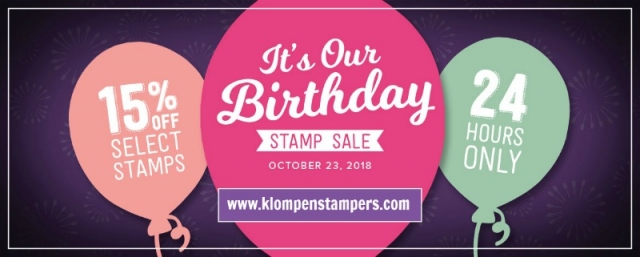 Sale! Stampin' Up! is turning 30 and to celebrate there is a ONE DAY sale, Tuesday, October 23, 2018. Visit Jackie Bolhuis www.klompenstampers.com to order and find more details!