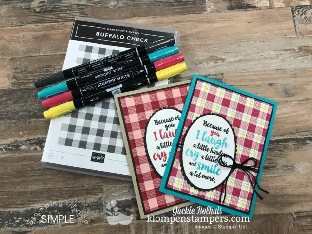 DIY Plaid Background & Buffalo Check Stamp video tutorial to create fun backgrounds in cardmaking. Full video tutorial with Stamparatus tips & coloring tips too. #cardmaking #greetingcards #stampinupcards #JackieBolhuis #KlompenStampers