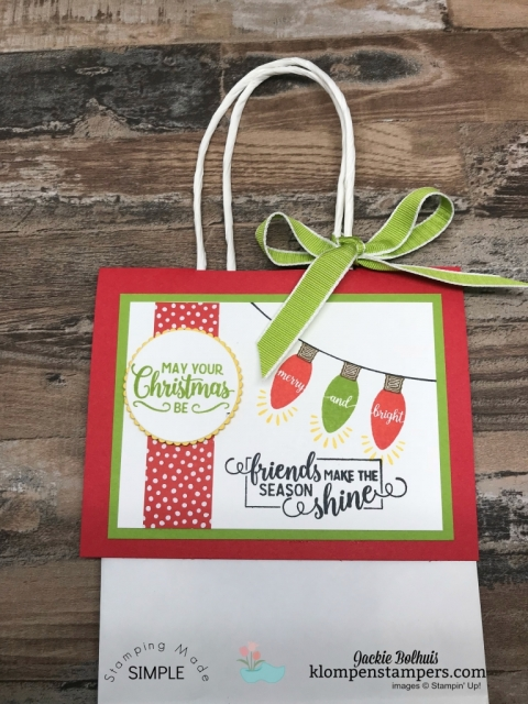 Learn how to make a no peek gift bag! Do you struggle making your gift bags looking all nice & pretty with tissue paper so neatly sticking out of the top?  If so, I have the perfect solution for you! Click for video tutorial!! #christmascrafts #cardmaking #stampinupcards #jackiebolhuis #KlompenStampers