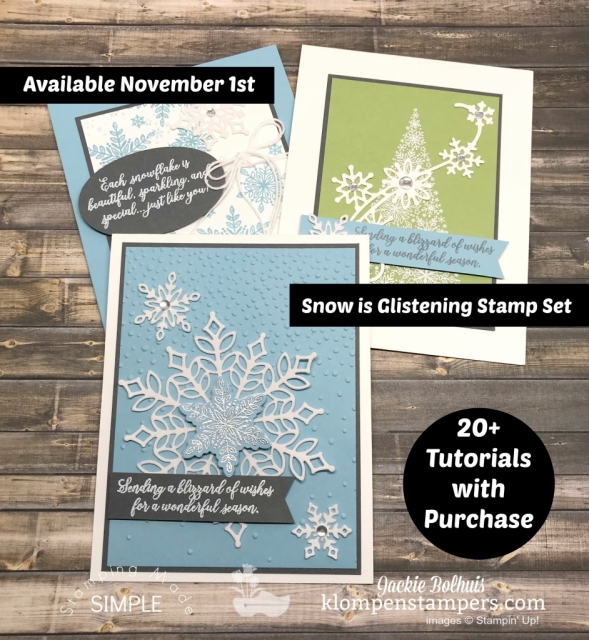 Snowflake Showcase: New Card Making Designs! From Christmas Cards to All Occasion cards these greeting cards and new stamp sets are loaded with fun. Jackie Bolhuis shares a video tutorial showing you lots of ideas made with this new set. Click to view. #greetingcards #cardmaking #stampinupcards #christmascards #jackie Bolhuis #klompenstampers
