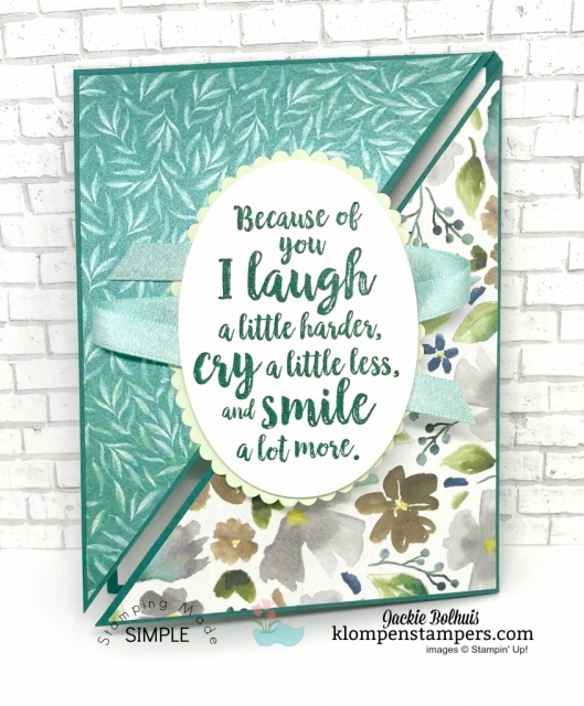 Triangle Fun Fold Card & Video Tutorial by Jackie Bolhuis. Watch Jackie teach this fun and unique card fold...lots of greeting card designs shared here! #cardmaking #greetingcards #stampinupcards #jackiebolhuis #klompenstampers