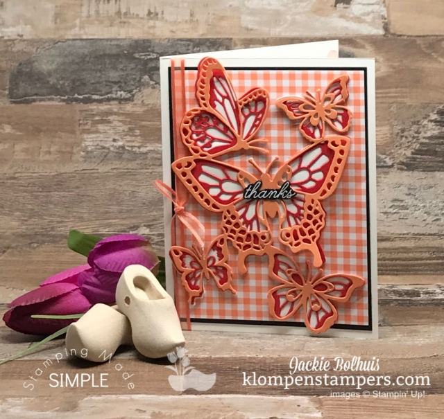 Thank You Card with Easy Die Cut Butterflies in Coral Color Tones