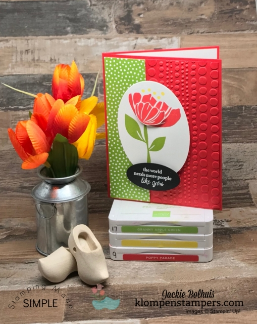Red-Dot-Patterned-Embossed-Card-Front-With-Flower-on-Front