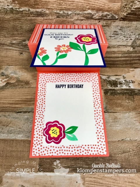 Happy Birthday Stamped on the Inside of a Fun Fold Card