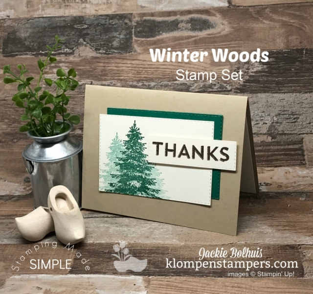 Handmade Thank You Card Hand Stamped with Green Trees by Jackie Bolhuis