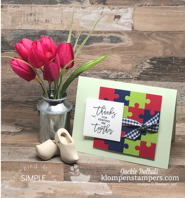 DIY Thank You Card with Puzzle Pieces Accents
